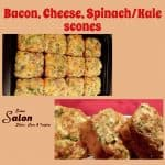 Bacon, Cheese, Spinach/Kale scones baked in a square baking tin