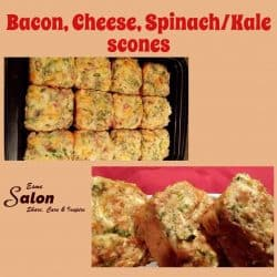 Bacon, Cheese, Spinach/Kale scones