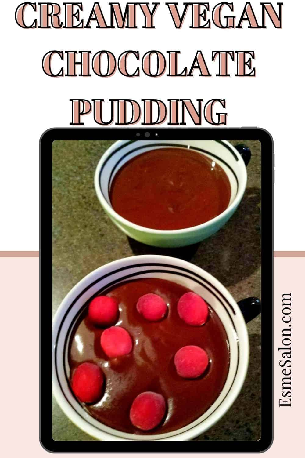 Two bowls of Creamy Vegan Chocolate Pudding and topped with berries