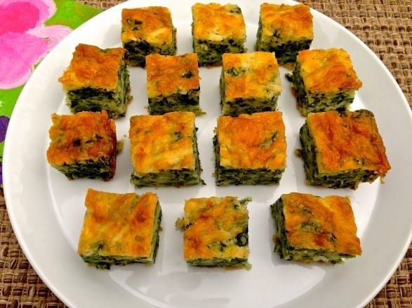 Baked Cheddar Spinach Squares