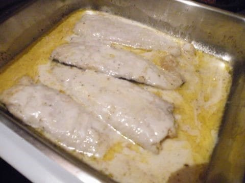Grilled Hake and Blue Cheese Sauce