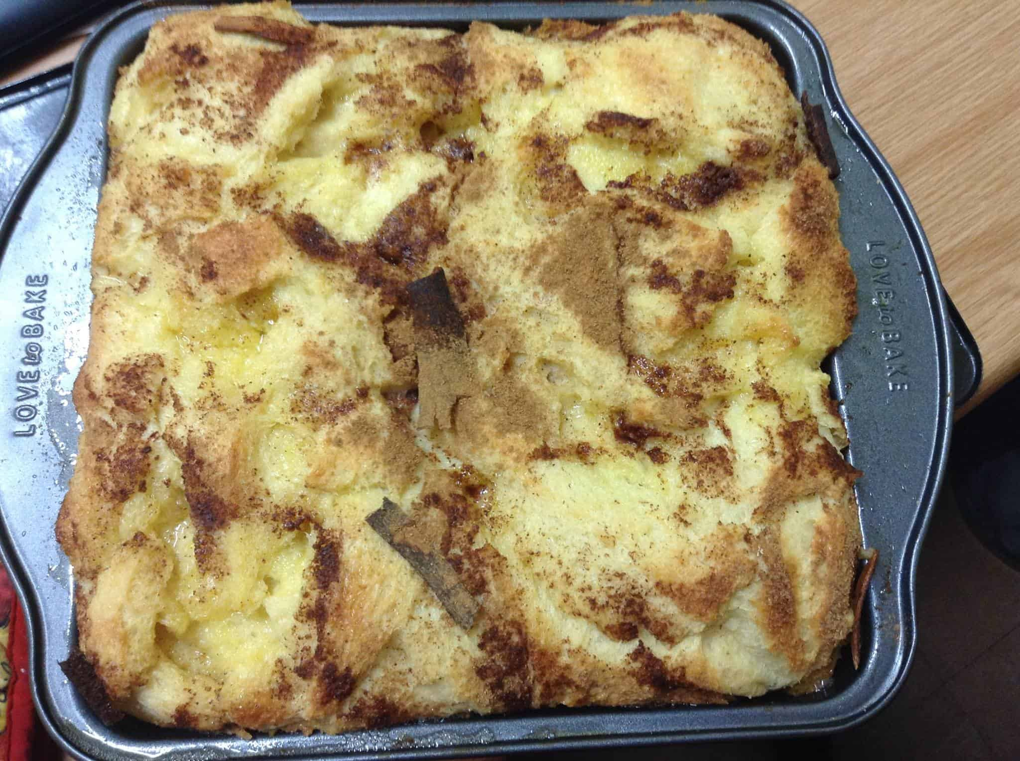 Bread pudding and homemade custard for dessert1