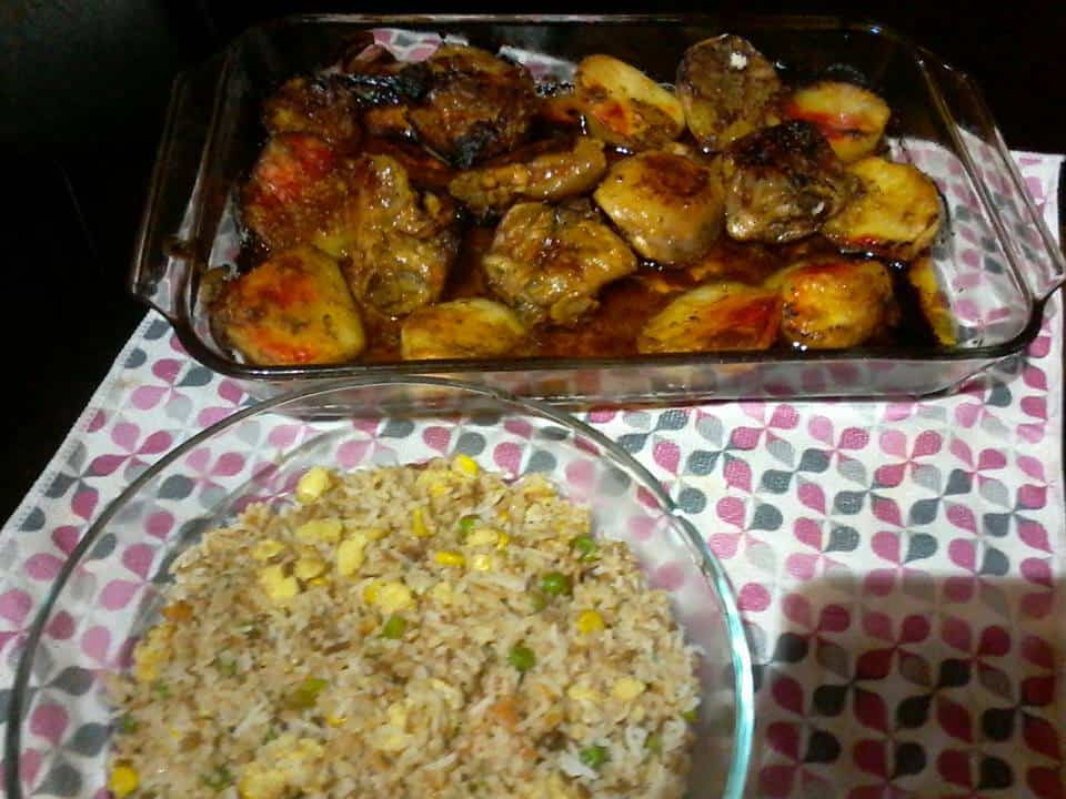 MAYONNAISE BAKED CHICKEN WITH CHINESE EGG FRIED RICE