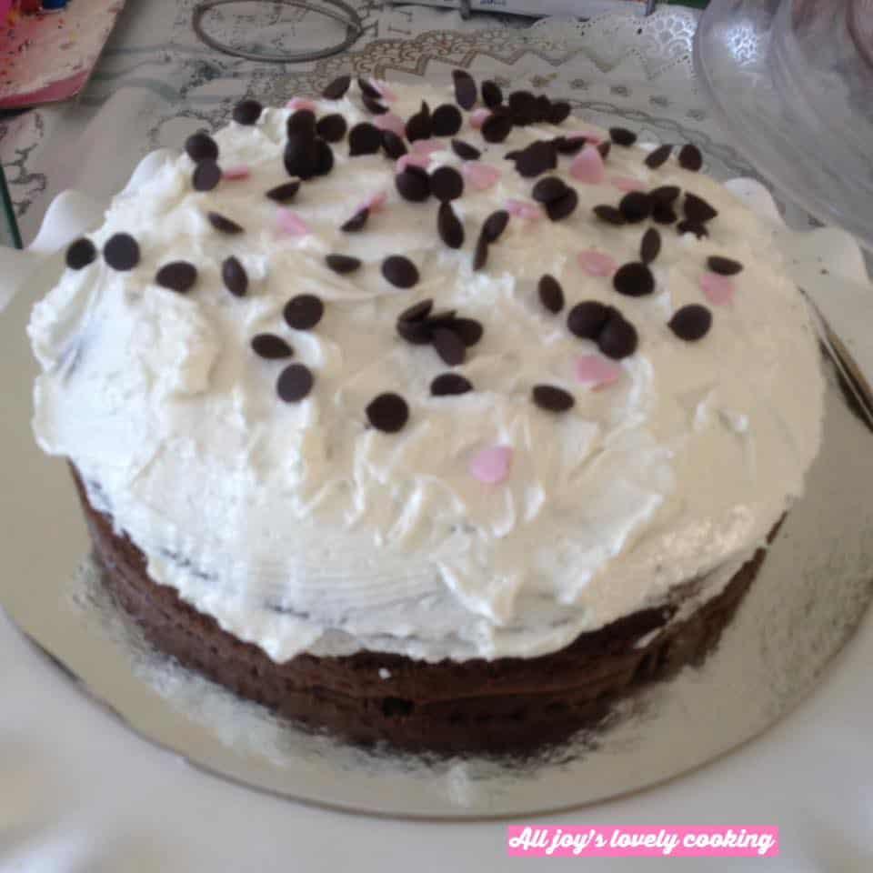 Vanilla chocolate cake with swiss buttercream