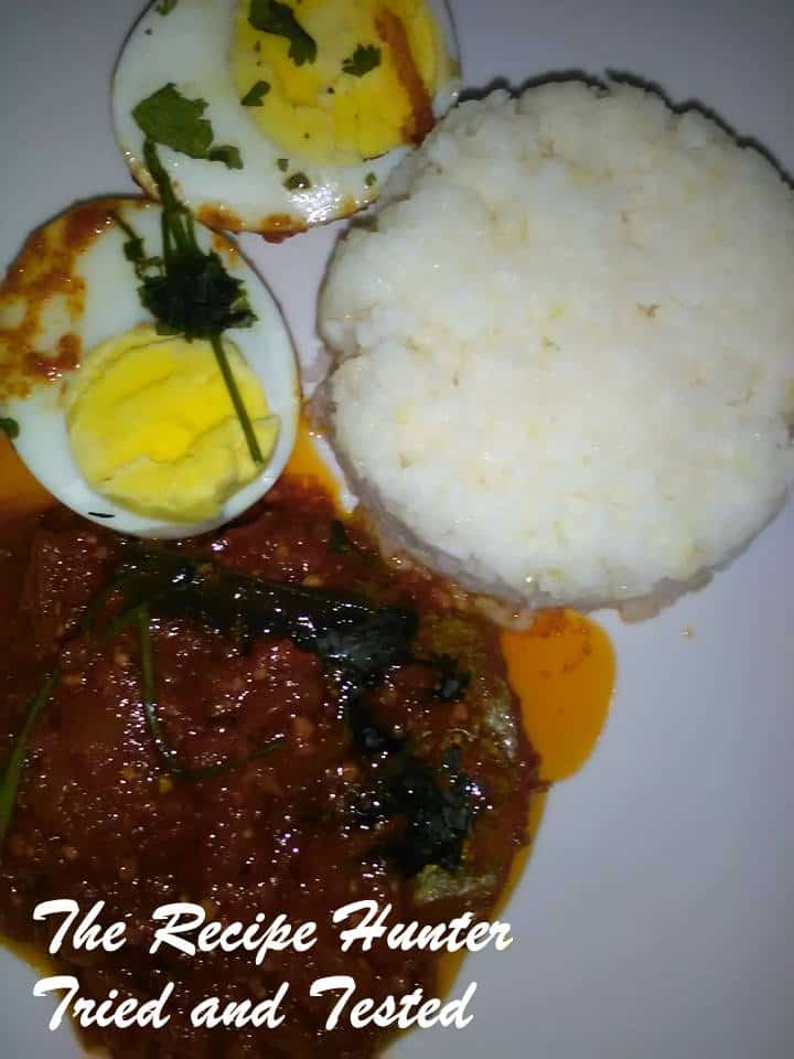 TRH Dry fish Snoek chutney and Boiled eggs with Mielie rice2