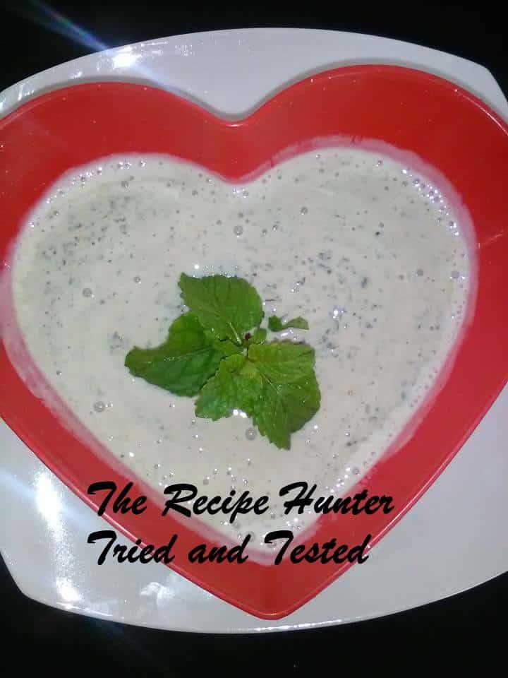 TRH Old school sour milk salad or Mint chutney