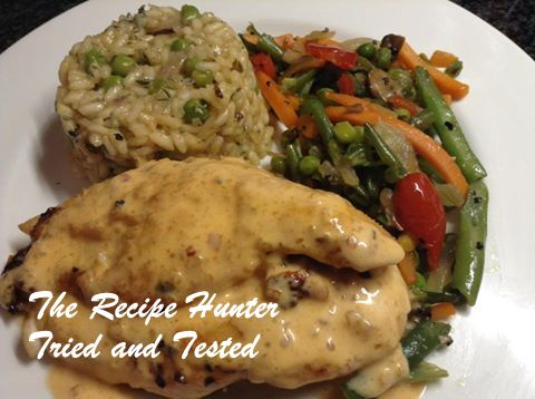 TRH Stuffed chicken fillets, mushroom and pea risotto with stir fry vegetables