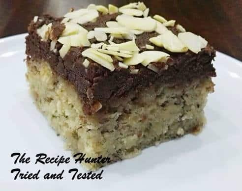 TRH Sureka's Banana almond cake with chocolate fudge icing