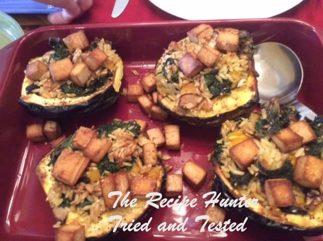 Es's Acorn Squash with Orzo and Kale