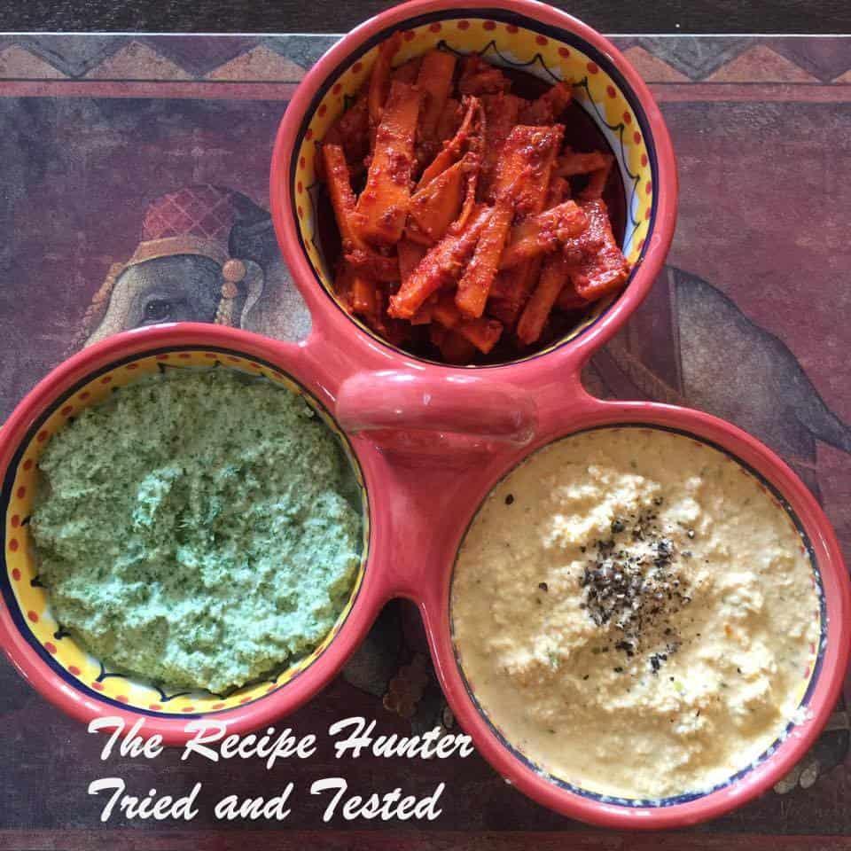TRH Jasmita's carrot pickle, Green peanut chutney and Coconut Pepper chutney