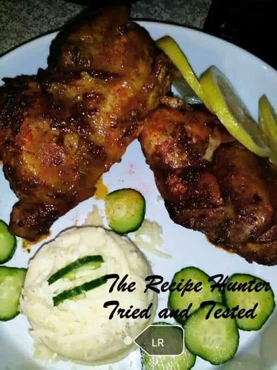 TRH Layne's Tikka slow roast chicken, with cheesy mash and a dash of lemon