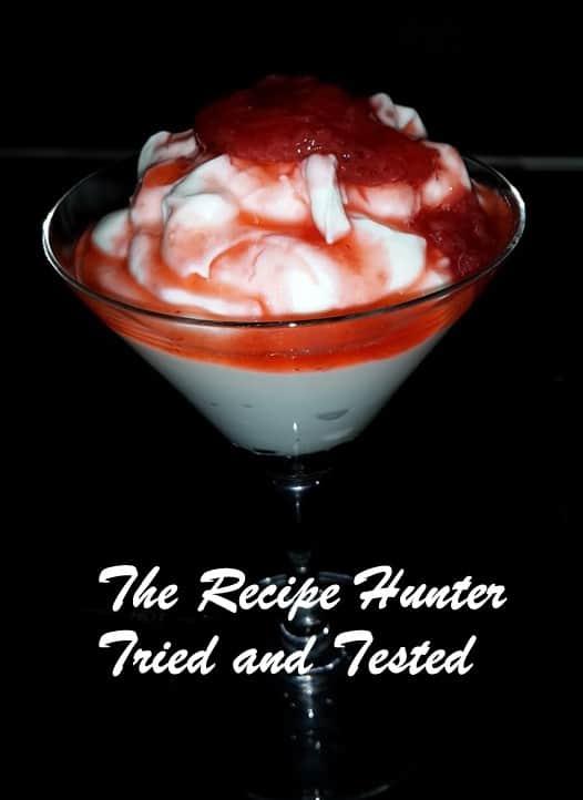 TRH Omi's Double Cream Yoghurt with a strawberry sauce