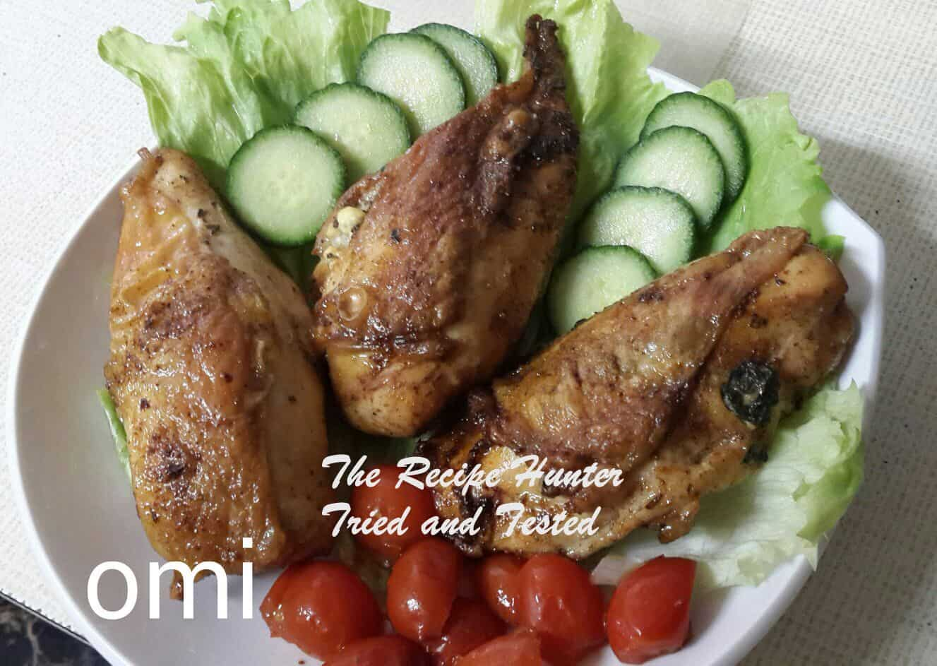 TRH Omi's Roasted Chicken Breass stuffed with a Creamy Spinach and Feta filling