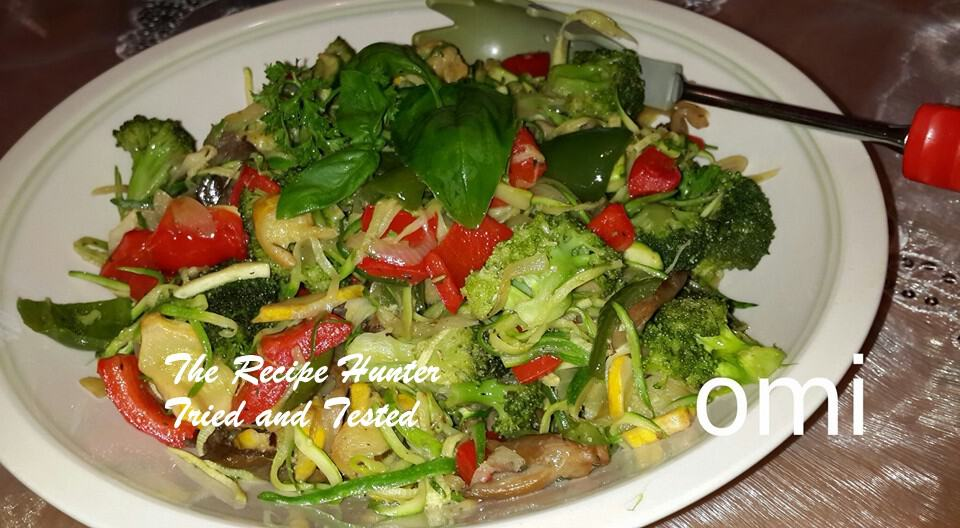 TRH Omi's Zucchini Spaghetti(Baby Marrow,courgettes) with stir fried vegetables1