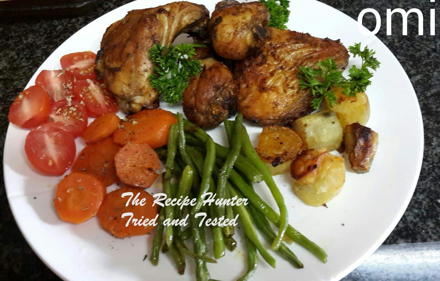 Omi's Roast chicken with roasted sweet potatoes, green beans and carrots