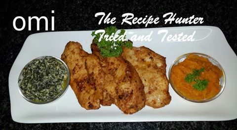 TRH Omi's Tandoori Chicken fillets with creamed spinach and pureed pumpkin