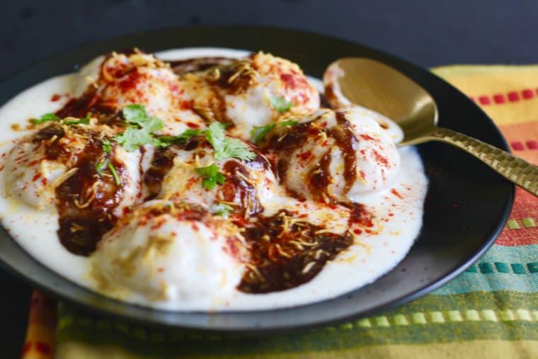 No Fry Dahivada (Lentil dumplings dunked in lush yogurt)
