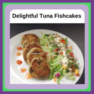 Tuna fish cakes served on a white plate