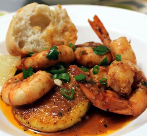 BBQ Shrimp with Fried Polenta Cakes