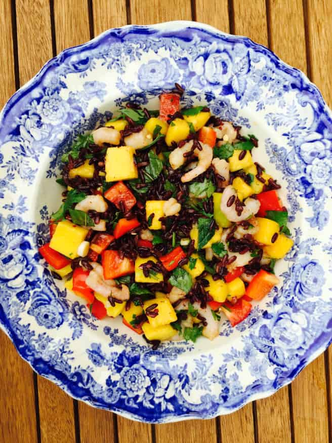 Forbidden black Rice salad with Mango and Prawns