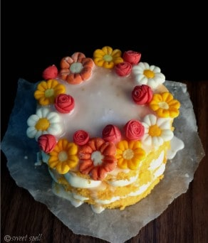 Orange Cake With Flowers