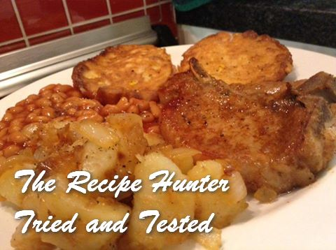 trh-gails-pork-loin-cutlets-pan-fried-potatoes-beans-in-tomato-sauce-and-sweetcorn-feta-fritters