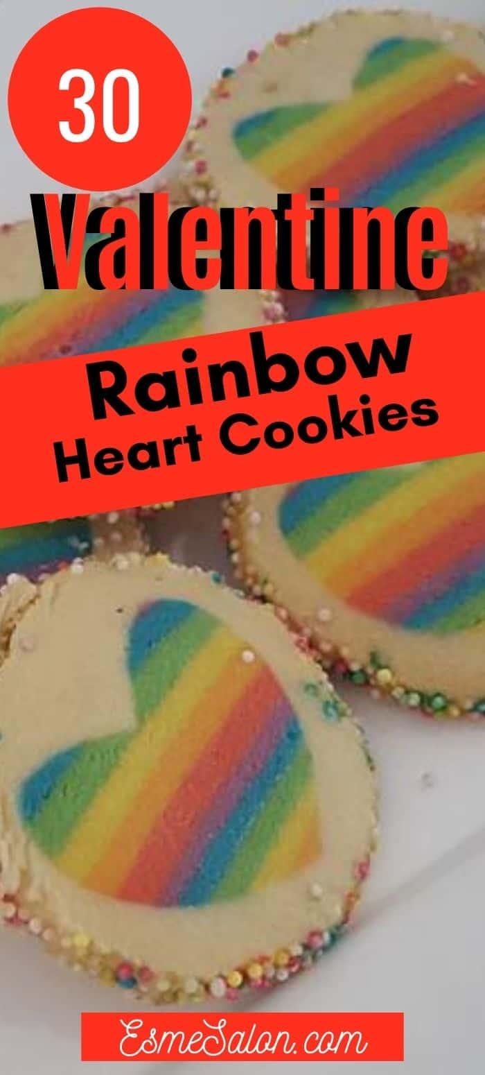 Valentine Rainbow Heart Cookie