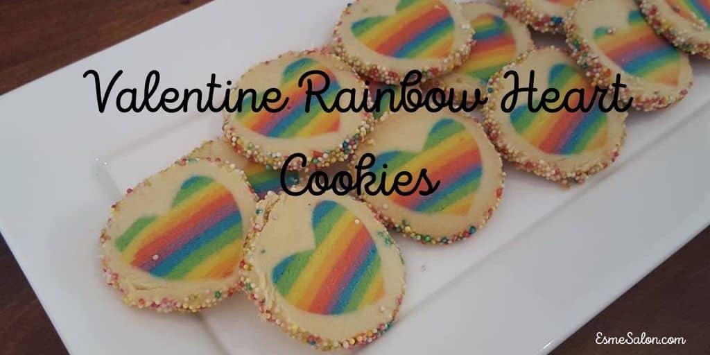 Valentine Rainbow Heart Cookies