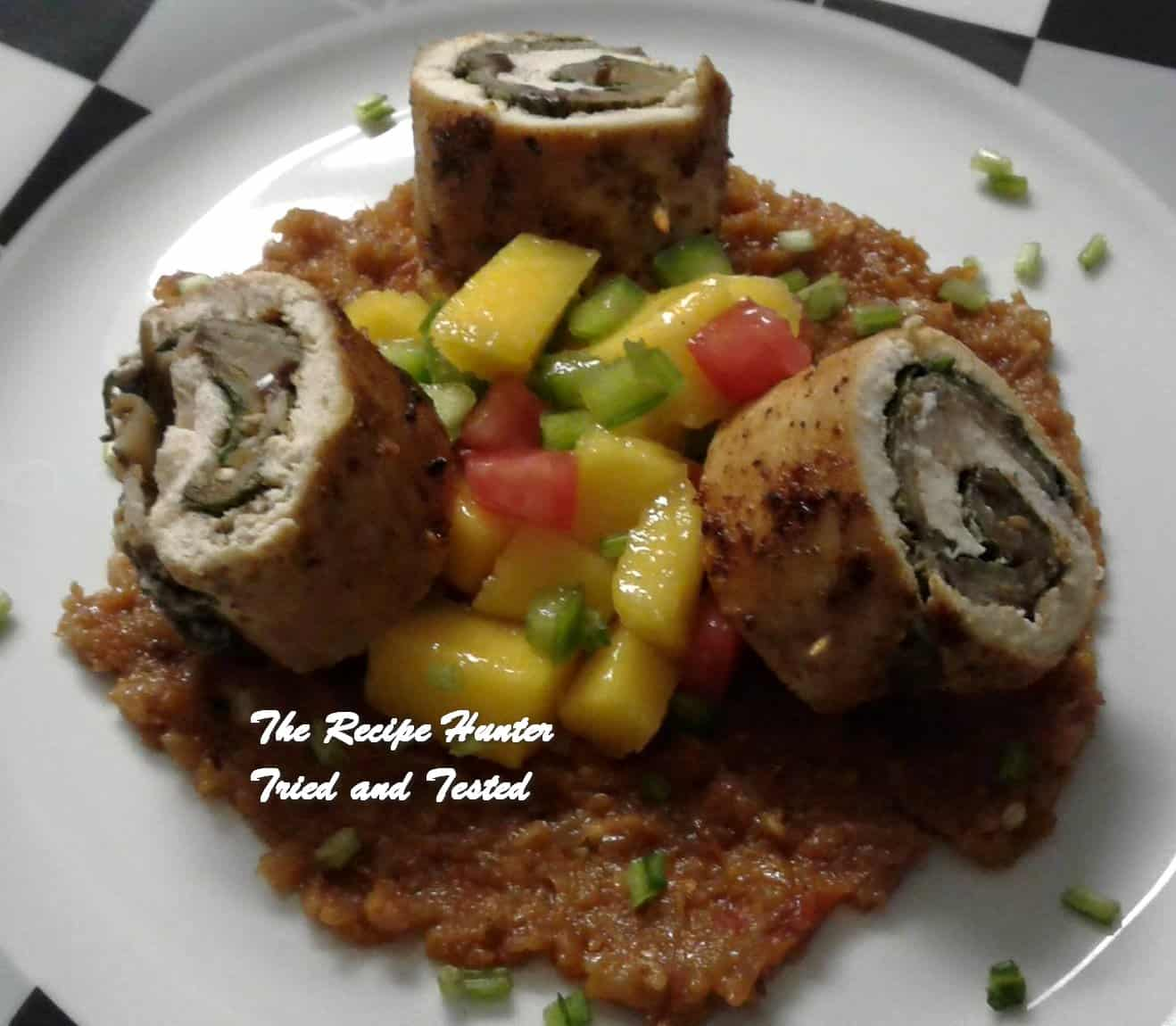 Nazley's Chicken Roll Ups served with Mango salsa and Aubergine puree