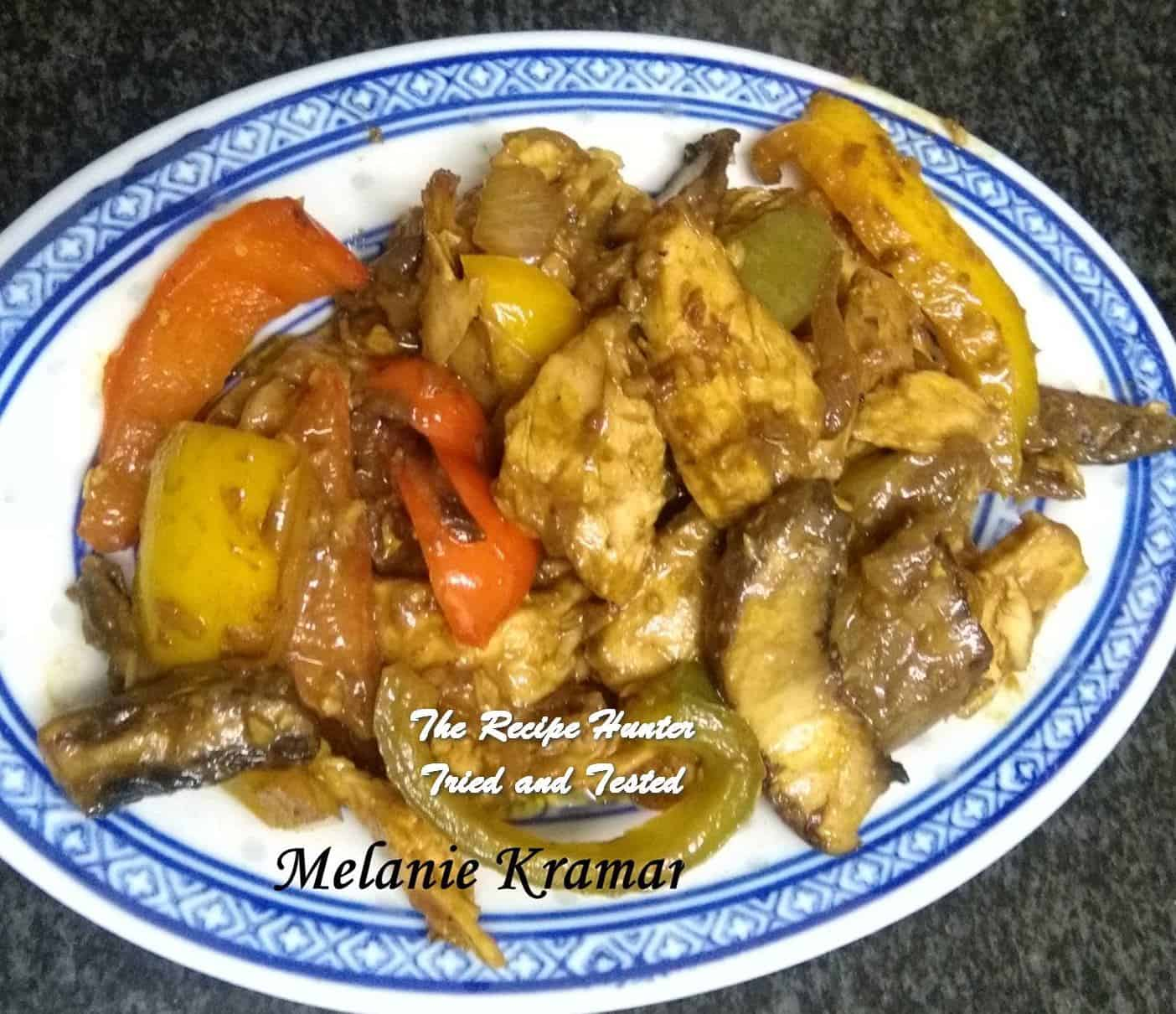 Melanie's Satay Chicken with Peppers and Mushrooms
