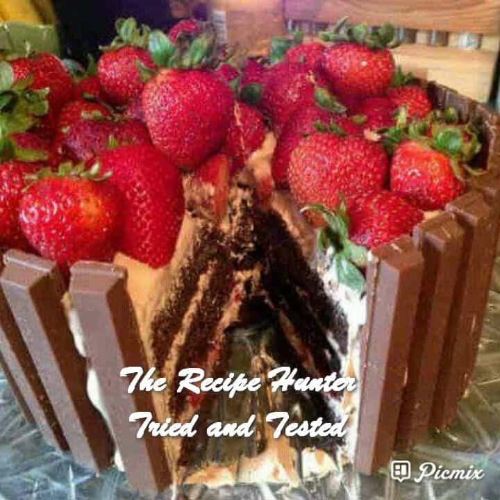 Feriel's Chocolate, Strawberry, Fresh Cream and Kit Kat Cake