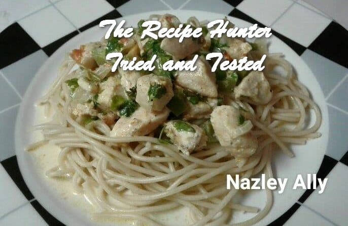Nazley's Creamy Chicken served with Spaghetti
