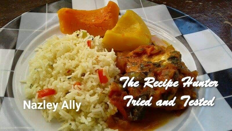 Nazley's Fish Curry served with pulao rice and steamed squash
