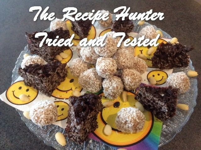 Es's Raw Vegan Raffaello Balls and Rice Crispies Chocolate Triangles