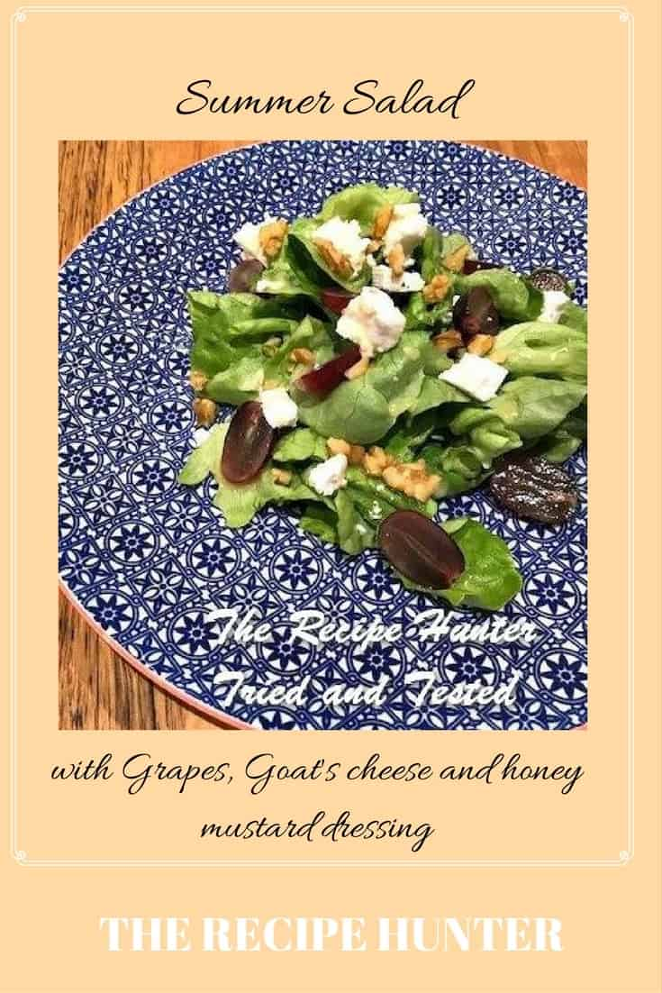 Lorelle's Summer Salad with Grapes, Goat's cheese and honey mustard dressing