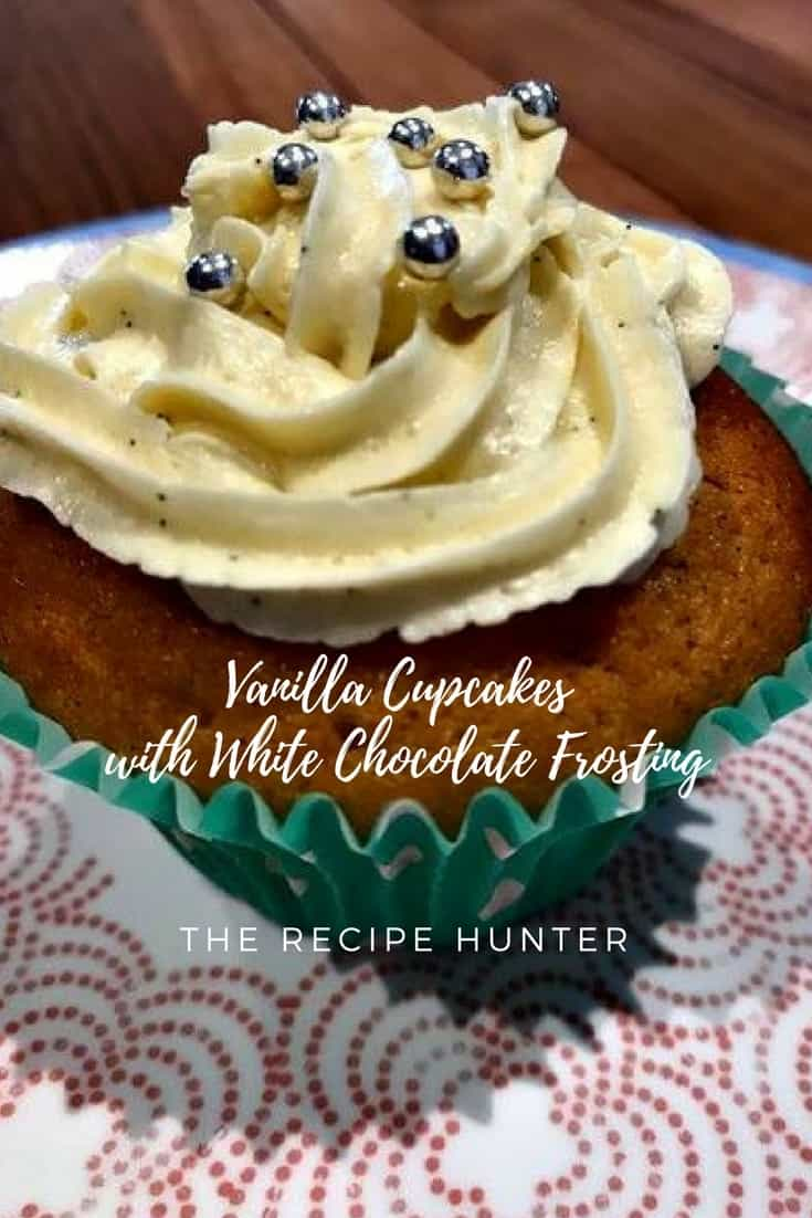 Vanilla Cupcakes with White Chocolate Frosting