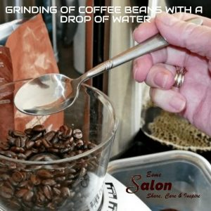 Grinding of Coffee beans with a drop of water