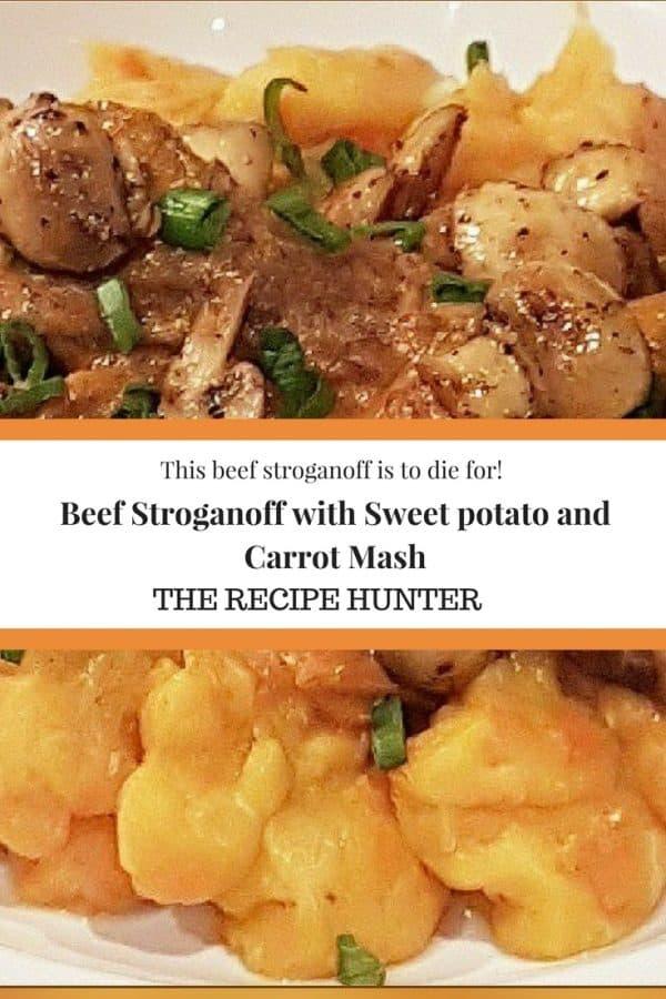 Caashifa's Beef Stroganoff with Sweet potato and Carrot Mash