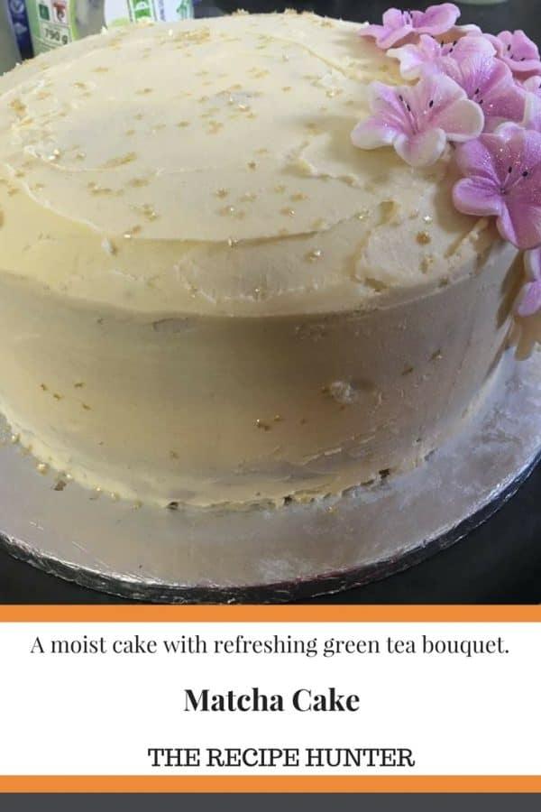 Matcha Cake with Vanilla Butter Cream Icing