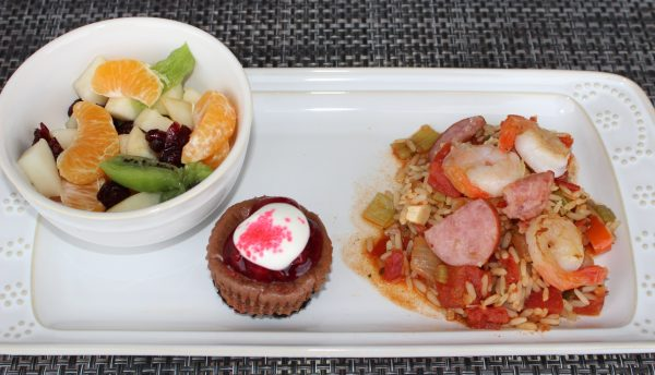 Guest: Jambalaya, Fruit Salad and Mini-Cheesecakes