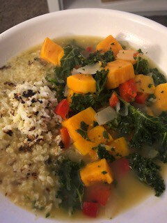 DINNER Kale and Squash Soup with Cauliflower Rice