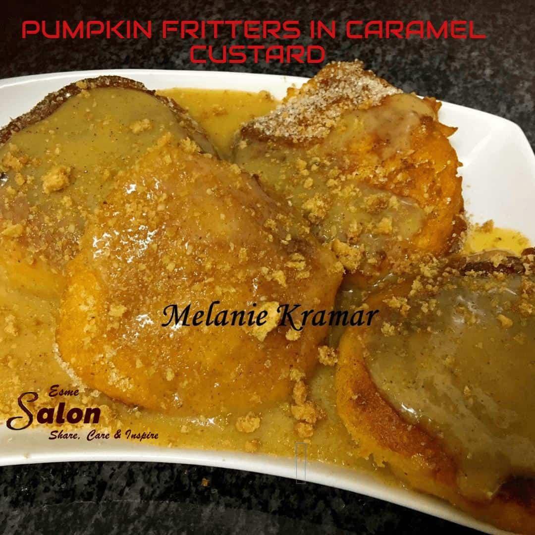Pumpkin Fritters in Caramel Custard Sauce