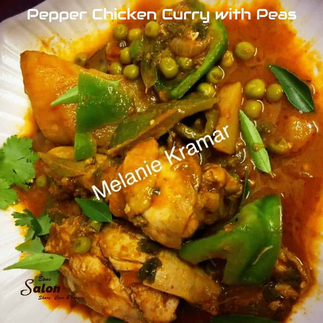 Pepper Chicken Curry with Peas