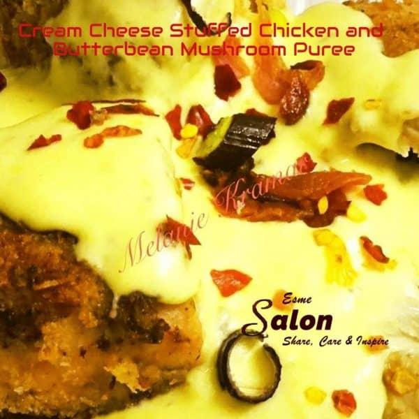 Cream Cheese Stuffed Chicken and Butterbean Mushroom Puree