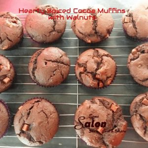 Hearty Spiced Cocoa Muffins with Walnuts