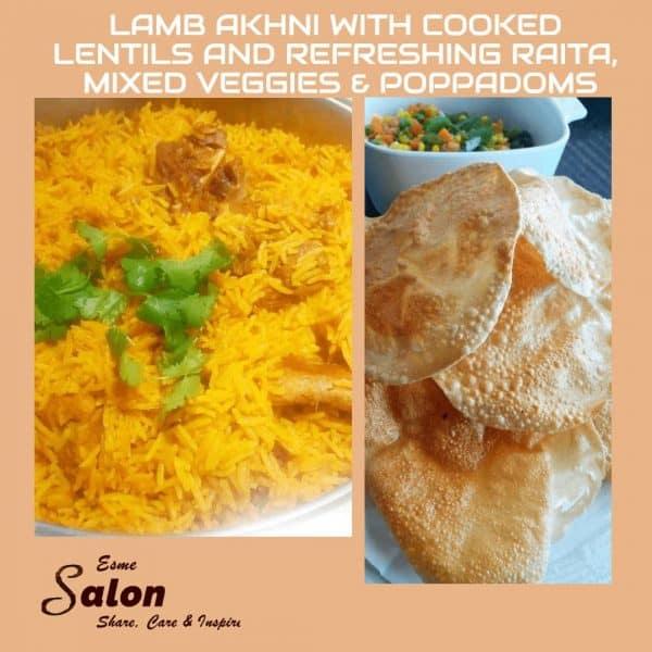 Lamb Akni with Cooked Lentils and Refreshing Raita