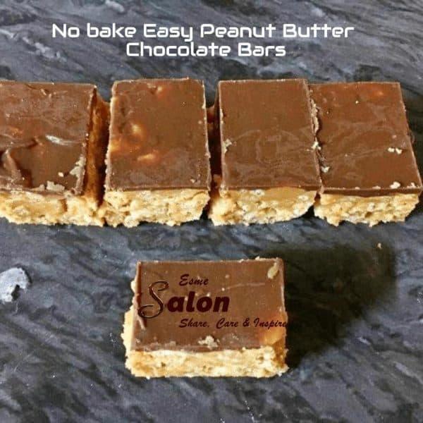 No bake Easy Peanut Butter Chocolate Bars