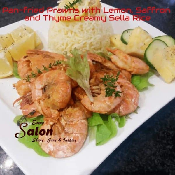 Home-made Pan-fried Prawns with Lemon, Saffron and Thyme Creamy Sella Rice