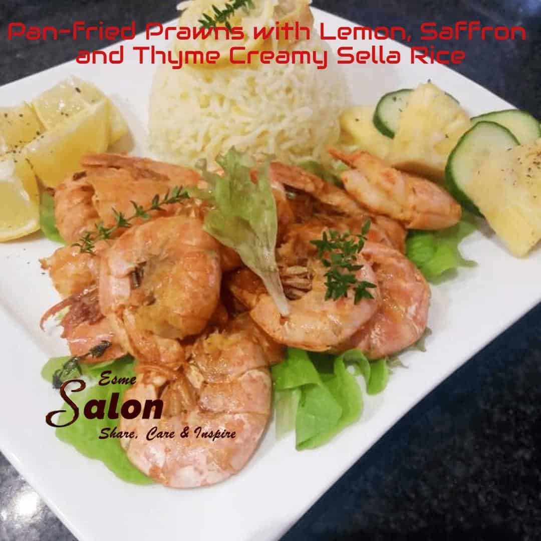 Pan-fried Prawns with Lemon, Saffron with Sella Rice
