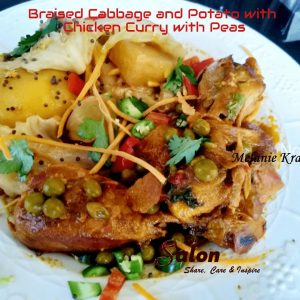 Braised Cabbage and Potato with Chicken Curry with Peas